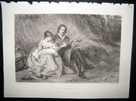 Music 1873 Steel Engraving. The Wayfarers. Violin Fiddle Player